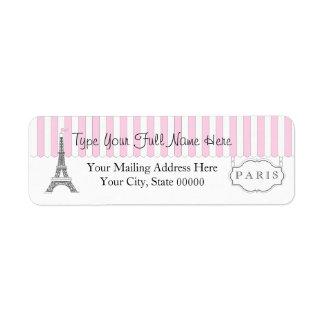 ピンク 白いパリエッフェル塔の名前 ラベル
