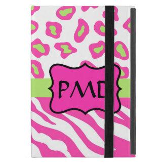 ピンク、白い及び緑のシマウマ及びチータの皮のカスタム iPad MINI ケース