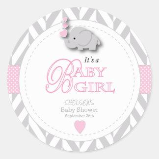 ピンク、白い灰色象のベビーシャワー ラウンドシール