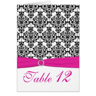 ピンク、白くおよび黒いダマスク織のテーブル数カード カード