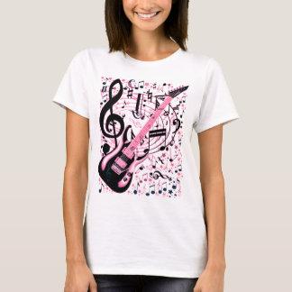 ピンク、石及びRoll_ Tシャツ
