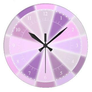 ピンク、紫色およびラズベリーの多彩のガーリー ラージ壁時計