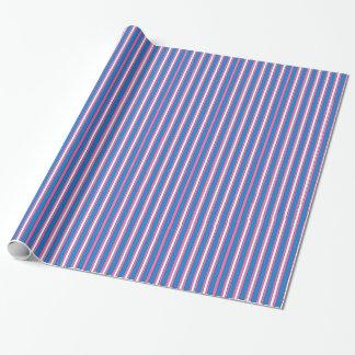ピンク、紫色および白くストライプのなギフト用包装紙の包むこと ラッピングペーパー
