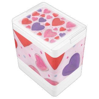 ピンク、紫色及び赤のバレンタインデーのハート IGLOOクーラーボックス