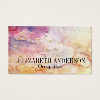 ピンク、紫色、及び金ゴールドの手塗りの水彩画の効果 名刺