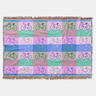 ピンク、茶色、真新しい数々のバイク-および青 スローブランケット