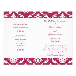 ピンク|赤い|ヴィンテージ|ダマスク織|結婚|プログラム チラシ