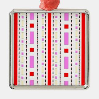 ピンク、赤及びクリームの点及びダッシュ メタルオーナメント