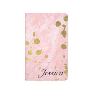 ピンク + 金ゴールドのかわいい大理石のカスタムなノートジャーナル ポケットジャーナル