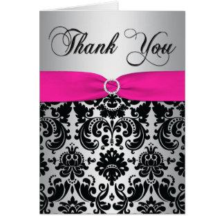 ピンク、銀および黒いダマスク織のサンキューカード カード