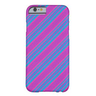 ピンク、青いマゼンタのターコイズのストライプなパターン BARELY THERE iPhone 6 ケース