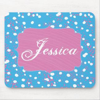 ピンク、青および白くかわいらしい落書きのスタイル マウスパッド