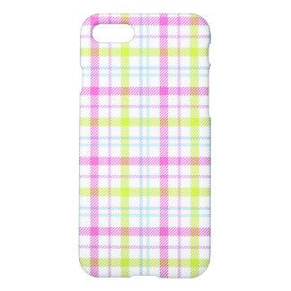 ピンク、青、緑および白いタータンチェック iPhone 8/7 ケース