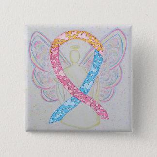 ピンク、黄色、および青の雲CDHの天使Pin 5.1cm 正方形バッジ