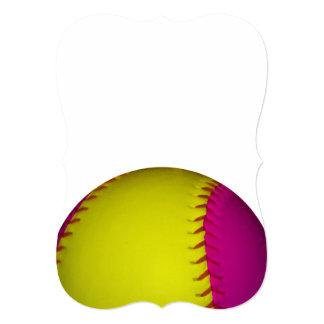 ピンク 黄色 ソフトボール 自分だけの招待状