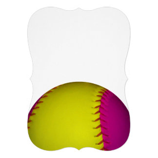 ピンク 黄色 ソフトボール 招待状