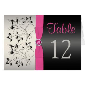 ピンク、黒いおよび銀製の花のテーブル数カード カード