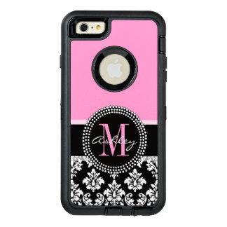 ピンク、黒いダマスク織、あなたのモノグラム、あなたの名前 オッターボックスディフェンダーiPhoneケース