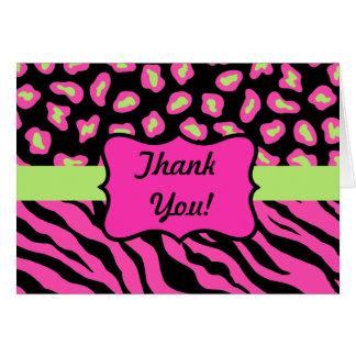 ピンク、黒い及びライムグリーンのシマウマ及びCheetaの皮 カード