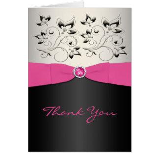 ピンク、黒い、および銀製のサンキューカード カード