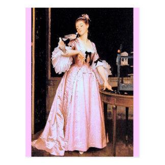 ピンク- Caraudの女性 ポストカード