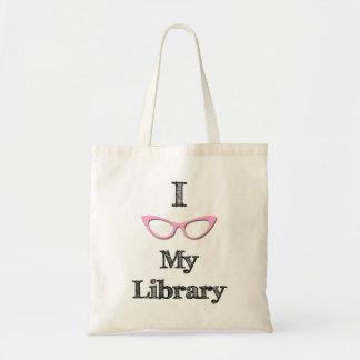 ピンク- I愛私の図書館 トートバッグ