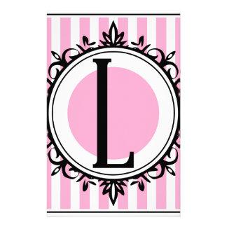ピンク「L」モノグラム 便箋