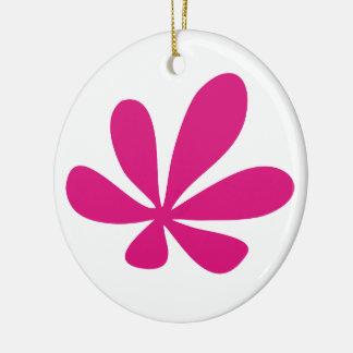 ピンクflower3 陶器製丸型オーナメント