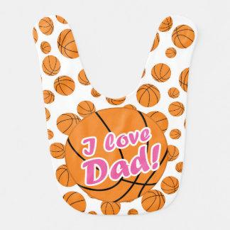 ピンクI愛パパのバスケットボールのよだれかけ ベビービブ