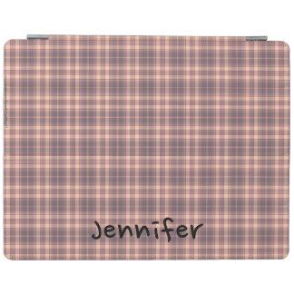 ピンクiPad 2/3/4カバーおよび名前入りな灰色の格子縞 iPadスマートカバー