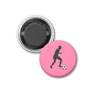 ピンクLサッカーの女の子のラベルプレーヤー(メス) - マグネット