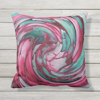 ピンクNのティール(緑がかった色)の抽象美術の屋外の枕 クッション