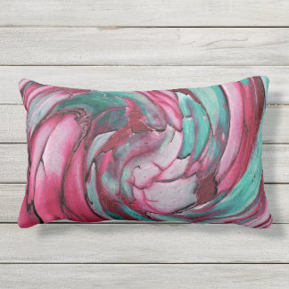 ピンクNのティール(緑がかった色)の抽象美術の屋外の枕 ランバークッション