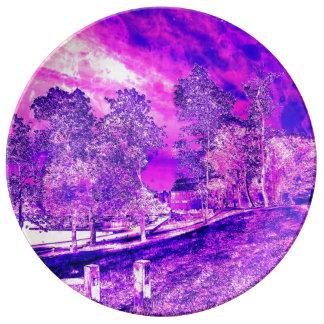 ピンクNの紫色の田園景色の磁器皿 磁器プレート