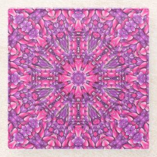 ピンクnの紫色の    ガラスコースター