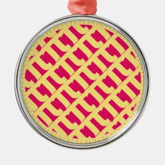 ピンクPiの格子パイ|ラズベリーのいちご メタルオーナメント