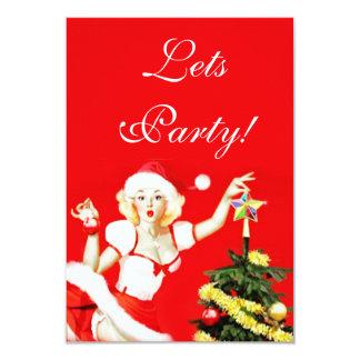 ピンナップのクリスマスの招待状 カード