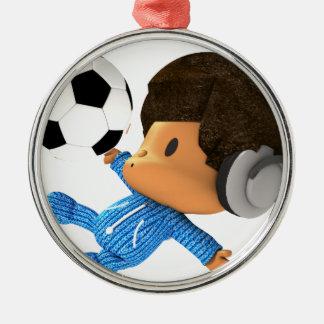 ピーカーブ式サッカーのアフロ型 メタルオーナメント