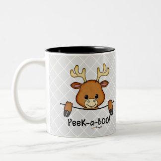 ピーカーブ式ペット(おもしろい、幸せ、かわいいシカ) ツートーンマグカップ