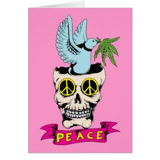 ピースサインのスカル/鳩の~ 60sのヒッピー愛 カード