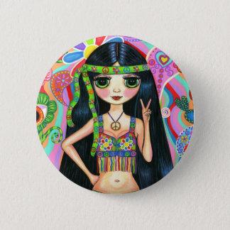 ピースサインのヒッピーの女の子ボタン 5.7CM 丸型バッジ