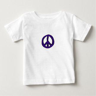 ピースサインの紫色のミニ ベビーTシャツ