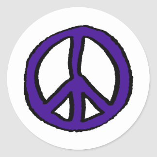 ピースサインの紫色- ラウンドシール