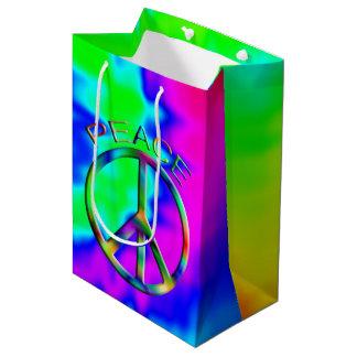 ピースサインの虹のヒッピーのギフトバッグ媒体 ミディアムペーパーバッグ