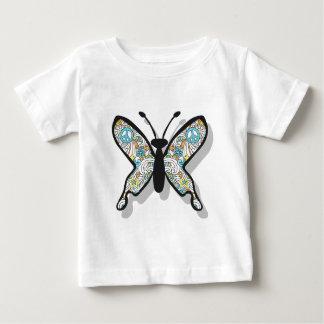 ピースサインの蝶 ベビーTシャツ