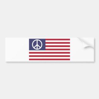 ピースサインの記号米国は及びストライプの米国旗主演します バンパーステッカー