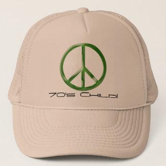 ピースサインの70年代の子供の帽子 キャップ