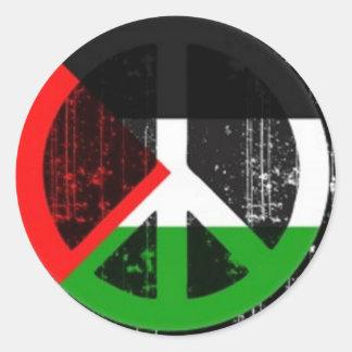 ピースサインパレスチナ ラウンドシール