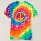 ピースサイン-螺線形の絞り染めのTシャツ Tシャツ