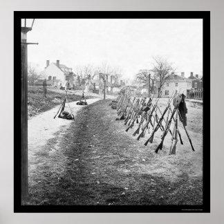 ピーターズバーグ、VA 1865年の積み重ねられた中央政府ライフル ポスター